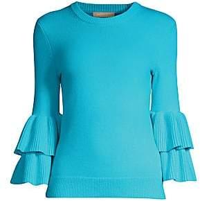 Michael Kors Women's Double Ruffle Sleeve Cashmere Sweater