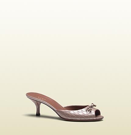 Gucci Holiday Light Pink Metallic Microguccissima Leather Slide Sandal