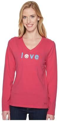 Life is Good Smiley Love Long Sleeve Crusher Vee Women's T Shirt