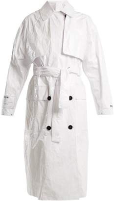 MSGM Tyvek Tie Waist Trench Coat - Womens - White