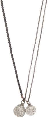 M. Cohen Hematite bead and coin pendant silver necklace