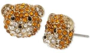 Betsey Johnson Gold-Tone Pave Teddy Bear Stud Earrings