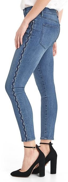 GapMid rise embroidered true skinny ankle jeans