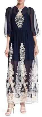 Alice + Olivia Aquinnah Bell Sleeve Crochet Knit Embroidered Dress