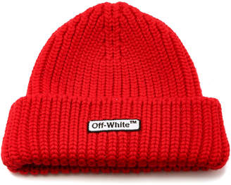 Off-White Knit Red Patch Beanie