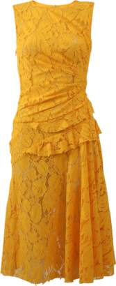 Oscar de la Renta Gathered Waist Lace Dress