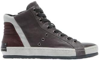 Washed Leather High Top Sneakers