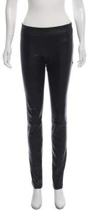 Tory Burch Mid-Rise Leather Leggings