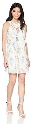 Calvin Klein Women's Petite Chiffon Floral Embroidered Trapeze Dress
