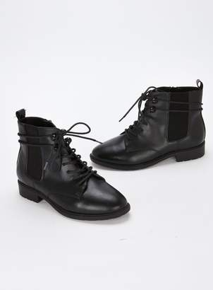 489406766fb Evans EXTRA WIDE FIT Black Lace Up Ankle Boots