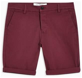 Topman Mens Red Burgundy Stretch Skinny Chino Shorts