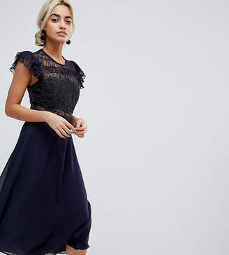 63668a3dab0 at ASOS · Asos Lace Midi Dress with Lace Frill Sleeve