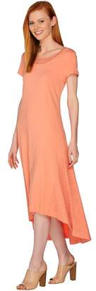 Halston H By H by Regular Knit Maxi Dress with Hi-Low Hem and Lace Detail