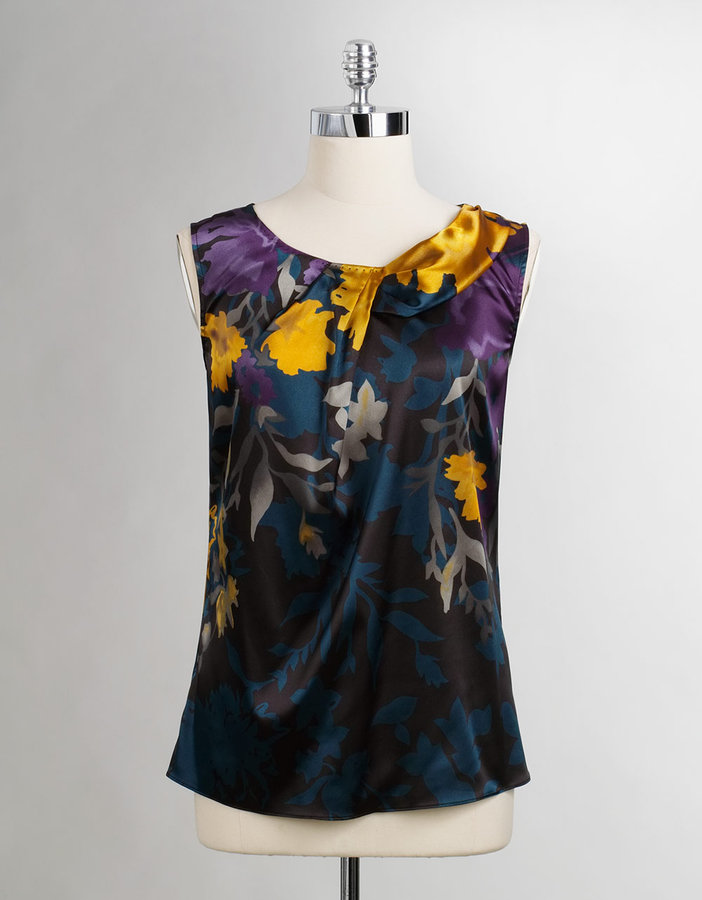 T. TAHARI Satin Sleeveless Blouse