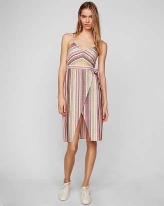 Express Multi Stripe Cut-Out Wrap Front Midi Dress