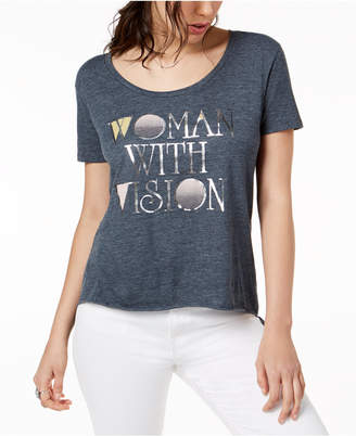 True Vintage Metallic Graphic High-Low T-Shirt