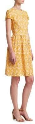ML Monique Lhuillier Lace Short-Sleeve Cocktail Dress