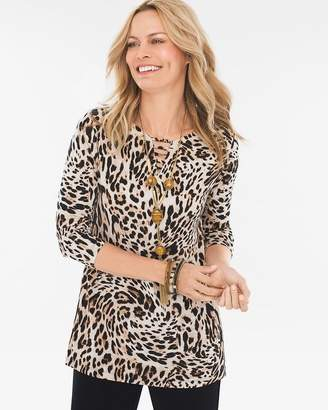Travelers Classic Leopard-Print Neck-Detail Top