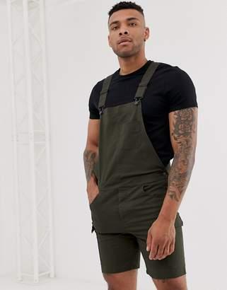 Asos Design DESIGN skinny cargo short overalls in dark khaki