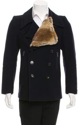 Dries Van Noten Fur-Accented Wool Coat
