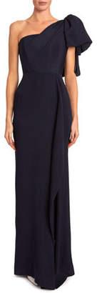 Roland Mouret Belhaven One-Shoulder Asymmetric Wave Gown