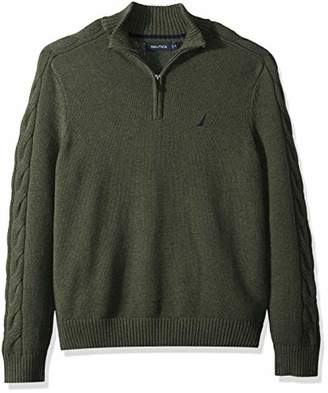Nautica Men's Half-Zip with Cable Sleeve Sweater