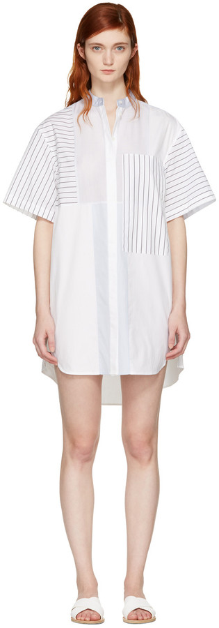 3.1 Phillip Lim3.1 Phillip Lim White Patchwork Shirt Dress