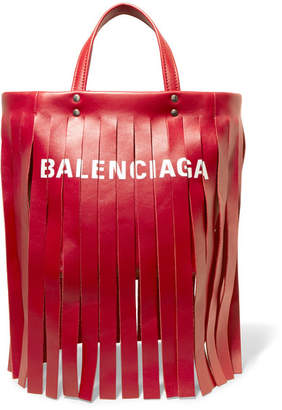 Balenciaga Fringed Printed Leather Tote - Red