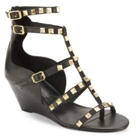 Ash Leather Studded Wedge Shoes