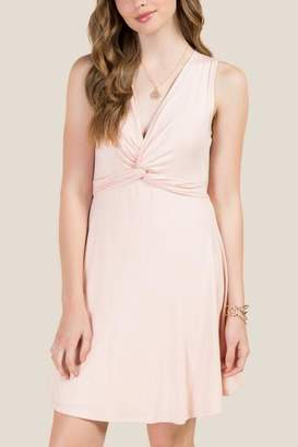 francesca's Jordan V-Neck Twist Front Knit Dress - Blush