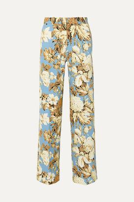 Stine Goya Marcel Floral-print Cady Wide-leg Pants - Blue