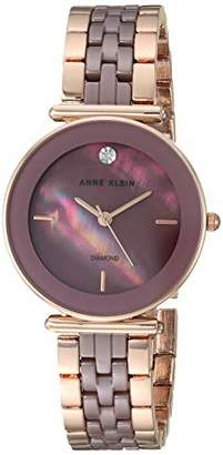 Anne Klein Women's AK/3158MVRG Diamond-Accented Rose Gold-Tone and Mauve Bracelet Watch
