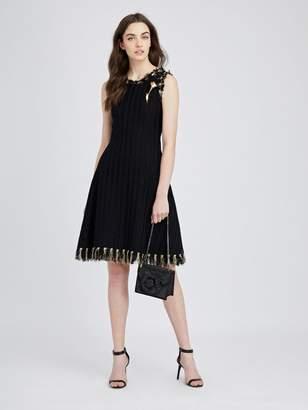 Oscar de la Renta Lurex-Fringed Tweed Dress