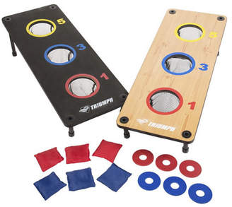 Triumph 2-in-1 Three-Hole Bags and Washer Toss Combo with 2 Game Platforms Featuring On-Board Scoring, 6 Square Toss Bags, and 6 Washers