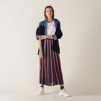 Sandro Long Knit Skirt With Pleats