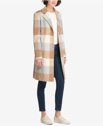 DKNY Plaid Woven Walker Coat