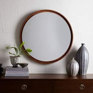 west elm Floating Round Wood Mirror - Acorn