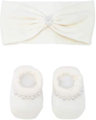 La Perla Knit Socks & Headband Set W/ Faux Pearls