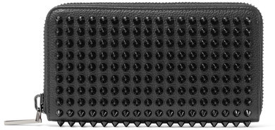 Christian Louboutin  Christian Louboutin - Panettone Spiked Textured-leather Wallet - Black