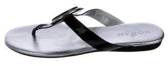 Hogan Patent Leather Thong Sandals