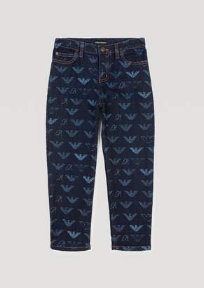 Emporio Armani Denim Jeans With All-Over Logo Print