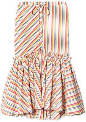 Rosie Assoulin Striped Seersucker Midi Skirt - Red