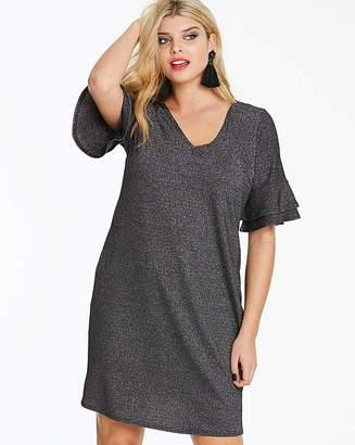 Fashion World Glitter Knit Dress with Ruffle Sleeve