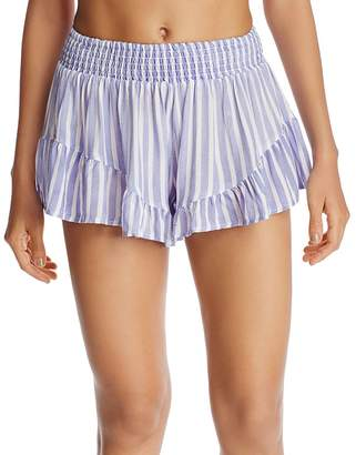 Surf Gypsy Striped Ruffle Swim Cover-Up Shorts