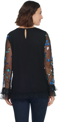 Du Jour Floral Embroidered Top with Ruffle Hem Detail