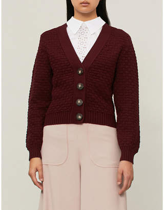 See by Chloe Textured chunky-knit cotton cardigan