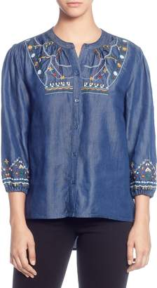 Catherine Malandrino Embroidered Chambray Top