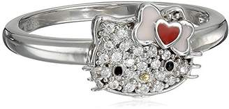 Hello Kitty Sterling Heart Bow Swarovski Crystal Ring
