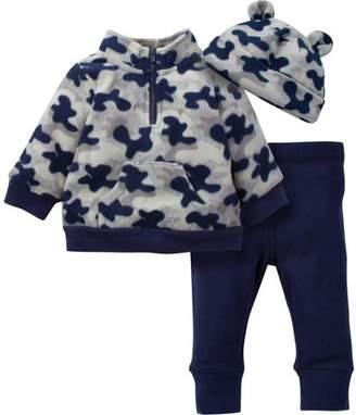 Gerber LLC Newborn Baby Boy Microfleece Zip Jacket, Pant & Hat 3pc Outfit Set