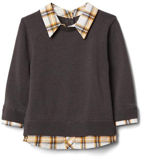 Plaid 2-in-1 sweater
